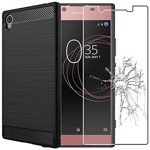ebestStar - kompatibel mit Sony Xperia L1 Hülle L1 Dual Kohlenstoff Design Schutzhülle, TPU Handyhülle Flex Silikon Hülle, Schwarz + Panzerglas Schutzfolie [Phone: 151 x 74 x 8.7mm, 5.5'']