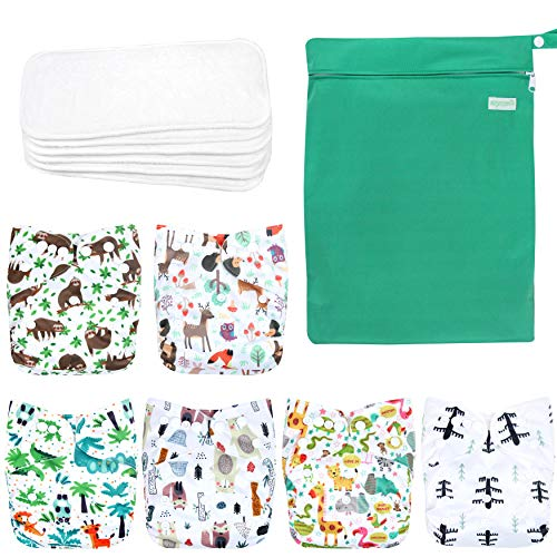 Wegreeco Washable Reusable Baby Cloth Pocket Diapers 6 Pack + 6 Bamboo Inserts (with 1 Wet Bag, Forest, Animals)