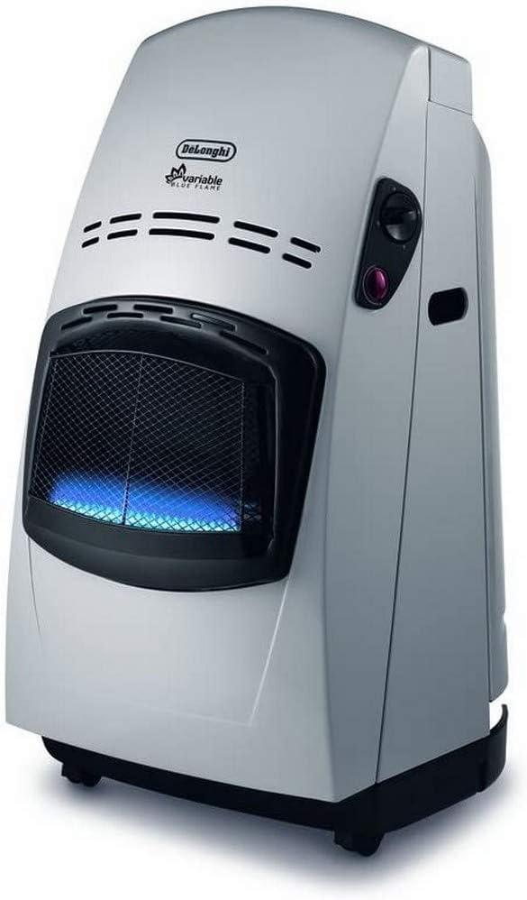 DeLonghi VBF2 Calentador de Gas, 4200 W con termostato Plateado (sin regulador de presión), Acero, Negro, Plata
