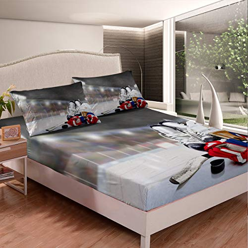 Feelyou Ice Hockey Bed Sheet Set Hockey Player Bedding Set for Kids Boys Girls Teens Ultra Soft Sports Theme Fitted Sheet Microfiber Winter Sports Hobby Bed Cover 2Pcs Twin Size