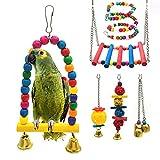 STARROAD-TIM Juguete para pájaros, loro columpio, jaula de pájaros, hamaca, columpio, juguete para colgar picos de campana, juguete para pequeños periquitos, 6 piezas