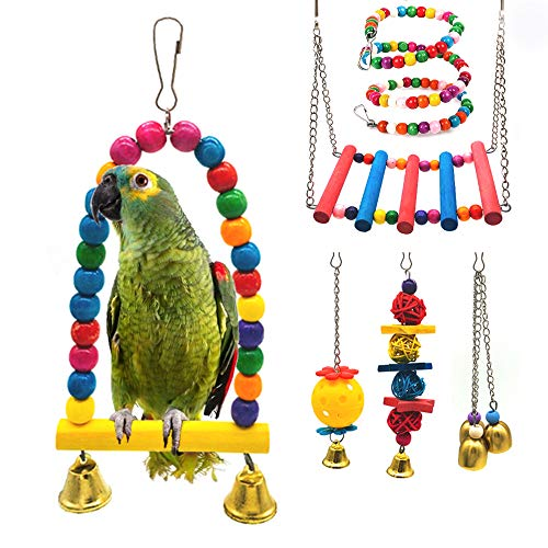 STARROAD-TIM Bird Toys Bird Parrot Swing Toy Pet Bird Cage Hammock Swing Toy Hanging Bell Beaks Toy for Small Budgie 6 pcs
