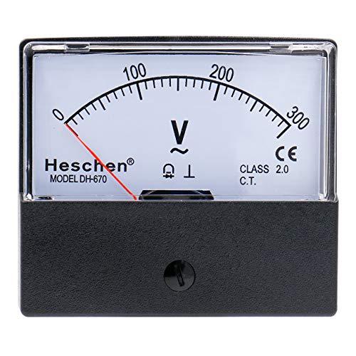 Heschen Voltímetro rectangular panel análogo voltios voltaje metro 670 estilo AC 0-300V clase 2.5