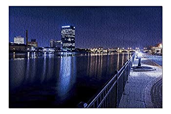 Lantern Press Toledo Ohio - Skyline at Night with City Lights Reflecting 9028697  500 Piece Premium Jigsaw Puzzle for Adults and Family 13x19