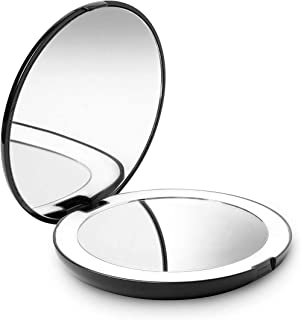 Led Lighted Travel Makeup Mirror Handbag Foldable Pocket Magnification Daylight Compact Portable Vanity Rechargeable Double Sided with Dimmable Touch Screen, for Travel, Bathroom