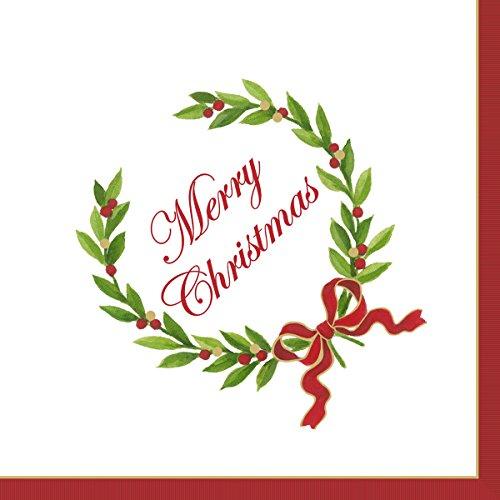 Caspari Vrolijk Kerstmis Laurel Krans Cocktail of Thee Servetten papier 25 cm vierkant 20 in verpakking