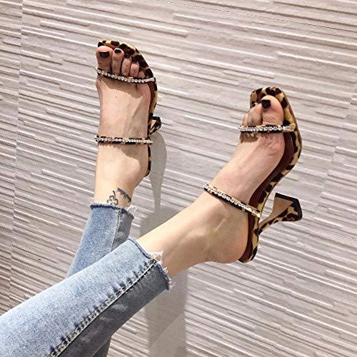 Schoenen Woman Tide Slippers vierkante kop wijnglazen met Rhinestone hoge hakken grote maat vrouwen Sandalen,A,39