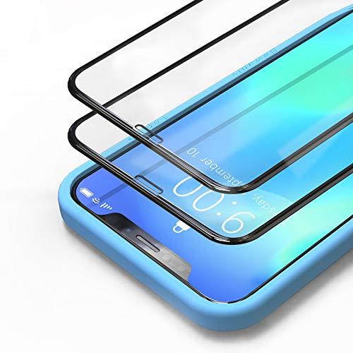 Bewahly Panzerglas Schutzfolie für iPhone 11 Pro Max/XS Max [2 Stück], 3D Full Screen Panzerglasfolie HD Displayschutzfolie 9H Glas Folie mit Positionierhilfe für iPhone 11 Pro Max 6.5' - Schwarz
