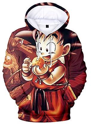 HAOSHENG Unisexo Sudadera con Capucha Dragon Ball para Hombre con 3D Digital Impreso Goku Super Saiyan Hip Hop Hoodie(S)
