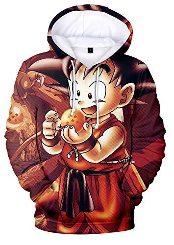 HAOSHENG Sudadera con Capucha para Niños Impreso 3D Dragon Ball Cartón Goku Son Animado...
