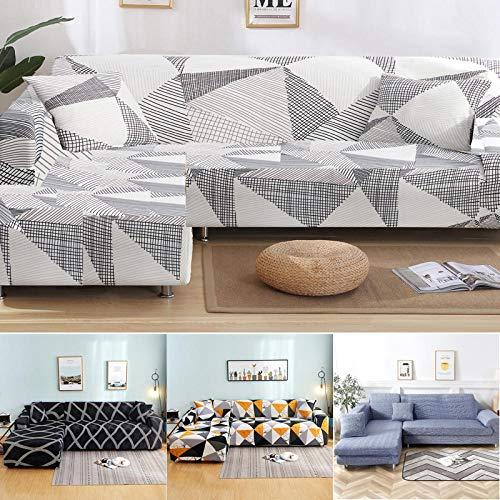 Funda de Sofá Elástica Material,Funda de sofá geométrica en Forma de L, Cubierta de sofá de Esquina de Sala de Estar-H_1pc 3 Asientos 190-230cm