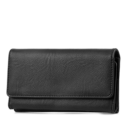 Mundi File Master Womens RFID Blocking Wallet Clutch Organizer With Change Pocket (One Size, (Black))