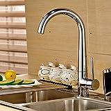 Válvula mezcladora Grifo monomando de cocina con acabado en níquel, agua caliente y fría Grifo giratorio de agua de cobre, 360 °, grifo de cartucho de cerámica, grifo de baño moderno y ahorro de agua