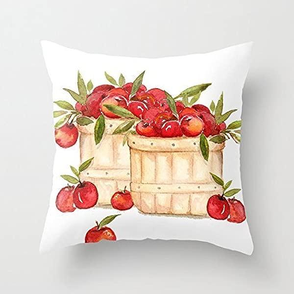 苹果丰收沙发抱枕套装饰沙发靠垫套客厅帆布沙发套 18X18