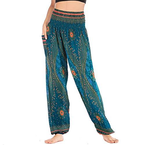 Nuofengkudu Mujer Hippie Thai Harem Pantalones con Bolsillo Boho Estampados Sueltos Pantalón Cintura Alta Indios Yoga Pants Pijama Verano Playa(Verde Ojo X,Talla única)