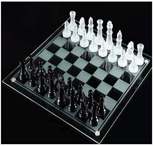 HEZHANG Schach-Set-Spiele Reise-Erwachsene Kinder Board-Kristalle 32 Stück Großes Traditionelles Schach Glass-Brett Set Schönes Spiel Und Party-Spaß Von