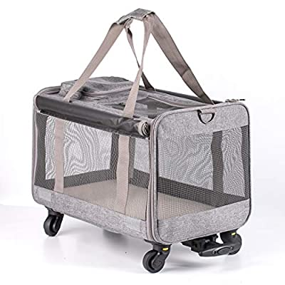 Bellamore Gift Limite cat carrier bag pet carrier bag puppy travel product with 4 wheels (GREY)