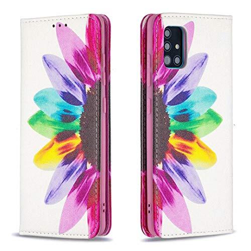 Miagon Brieftasche Hülle für Samsung Galaxy A51,Kreativ Gemalt Handytasche Case PU Leder Geldbörse mit Kartenfach Wallet Cover Klapphülle,Sonnenblume