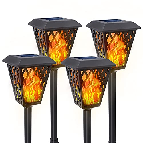 4-Pack Solar Tiki Torches with Flickering Flame, Aigostar 72 Led Waterproof Landscape Lighting, Ultra-Bright & Super Larger Solar Lights for Garden, Patio, Yard Pathway Outdoor Decoration