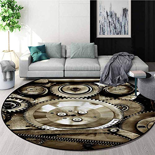 Best Prices! RUGSMAT Industrial Modern Machine Washable Round Bath Mat,Aged Gears Non-Slip Soft Floo...