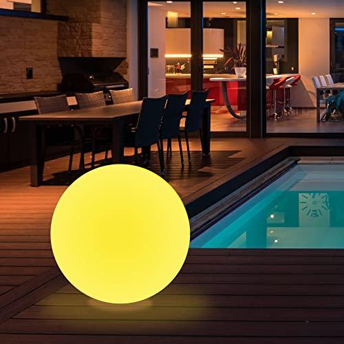wuuhoo® I LED Solar Kugel Gloria mit 16 Farben I Solarlampe mit Fernbedienung und Akku I Kugelleuchte für Innen und Außen I Gartenbeleuchtung und Gartenleuchte mit Dämmerungssensor 50 cm