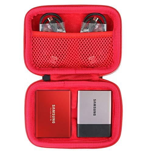 co2CREA Hard Custodia Borse Viaggio per Samsung T3/T5 SSD Portable External Solid State Drive 250GB 500GB 1TB 2TB (Rosso /2ssd cassa)