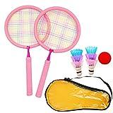 JZK Juego de bádminton rosa para niños con 2 raquetas 6 lanzaderas, 1 pelota de tenis, 1 bolsa de transporte, para niños de 3 a 7 años de edad, raquetas de bádminton para al aire libre deporte juego
