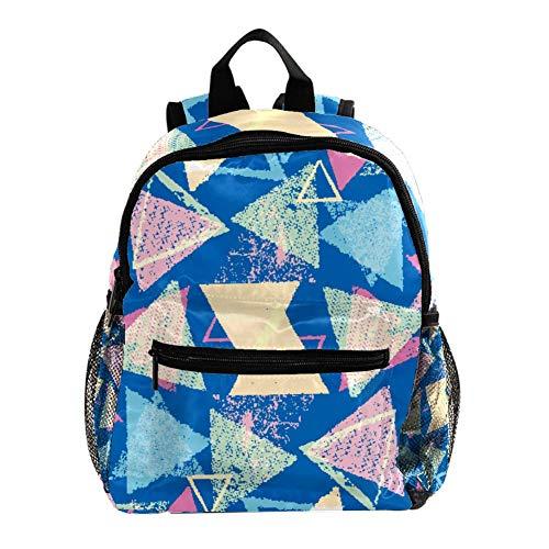 Kinderrucksäcke, niedlich, leicht, widerstandsfähig, Vorschulrucksack für Jungen und Mädchen, Brustgurt, blau, tropisches Palmblatt Blaue, dreieckige geometrische Formen 25.4x10x30 CM/10x4x12 in