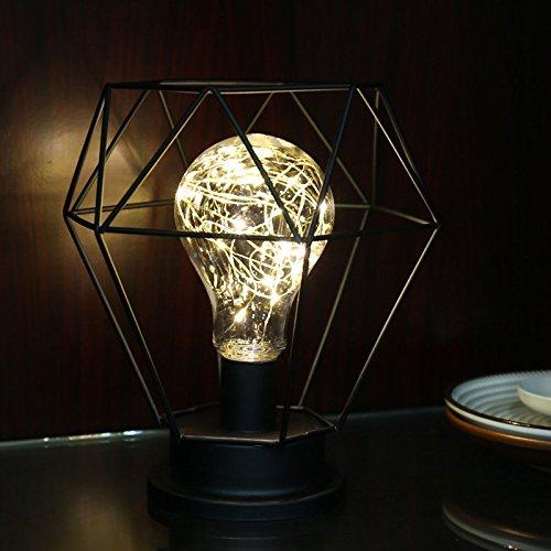 Elegante lámpara de Mesa Estilo Retro de Alambre de Cobre para mesita de Noche para decoración del hogar o Dormitorio