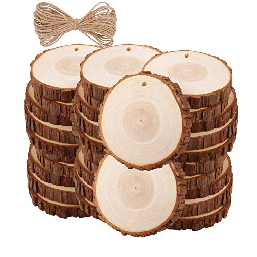 Natural Wood Slices TICIOSH 35 Pcs 2.8-3.1 inches Craft Unfinished Wood kit Predrilled with Hole Wooden Circles for DIY Crafts Wedding Decorations Christmas Ornaments Arts Wood Slices