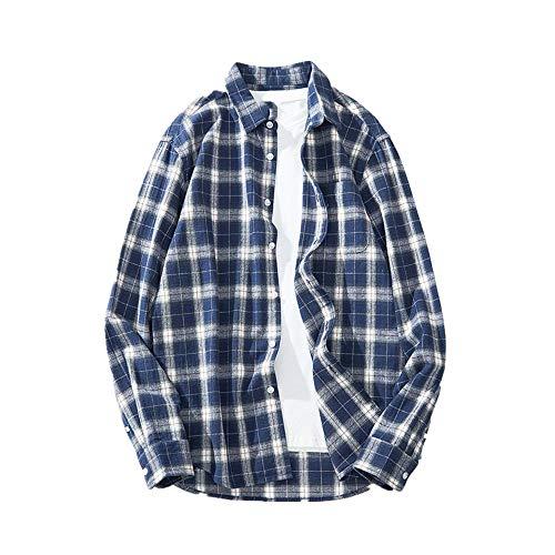 N\P Camisa de manga larga para hombre a cuadros de otoño para hombre