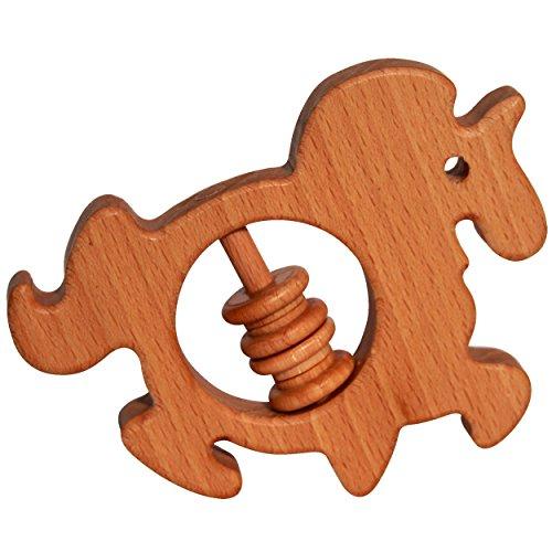 Massaggia gengive a forma di unicorno, 100 % in legno di faggio essiccato in modo naturale + olio di lino biologico Realizzato in UE, massaggia gengive per neonati e bambini.