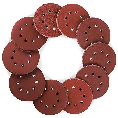 Coceca 160pcs Orbital Sandpaper Sanding Discs 5 Inches 8 Hole Hook and Loop, 20pcs Each 40 80 100 120 150 180 Grit and 10pcs Each 240 320 400 600 Grit Obital Sandpaper, Pack of 160, for Orbital Sander