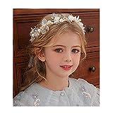 IYOU Boda pieza de pelo Sillver perla diadema nupcial bebé respiración cristal vid para princesa flor niñas y dama de honor
