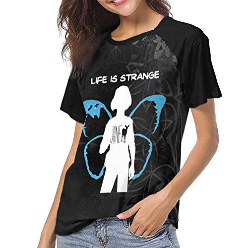 huatongxin Life is Strange Jane Doe MAX - Camisetas de béisbol raglán de Manga Corta para Mujer, Color Negro