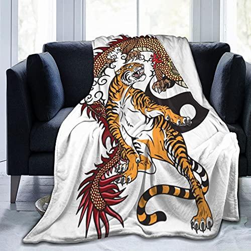 Aerokarbon Manta Super Suave,Tatuaje Dragón Versus Tigre,Manta de Felpa Suaves y esponjosa para sofá Cama y Sala de Estar Adecuada para Todas Las Estaciones 200x150cm
