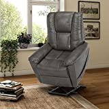 Dorel Living Ernie Power Chair with Lift Assist and Massage Function with Quiet Engine, Gray Recliners