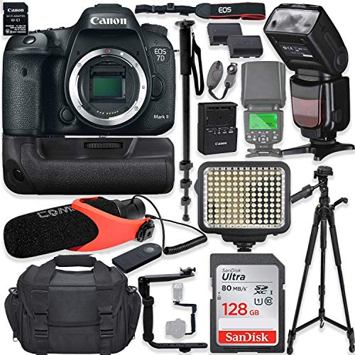 """Canon EOS 7D Mark II DSLR Camera Body (Wi-Fi) Kit with Pro Photo & Video Accessories Including 128GB Memory, Speedlight TTL Flash, Battery Grip, LED Light, Condenser Micorphone, 60"""" Tripod & More"""