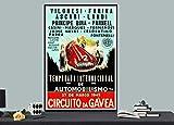 Póster de Circuito Da Gavea, Río de Janeiro, Brasil Vintage Grand Prix sin marco, lienzo – cita motivacional para decoración del hogar