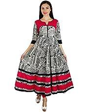 Bimba Women Long Designer Anarkali Kurti Indian Ethnic 3/4 Sleeve Kurta Maxi Blouse Black