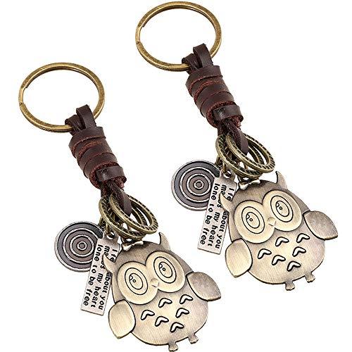 Kreative Eule Schlüsselbund Eule Schlüsselanhänger Mit Leder Quaste Eule Retro Schlüsselbund Eule Keychain Anhänger Für Weihnachten Charme Geschenk Feine Brieftasche Anhänger Ornament 2 Pcs
