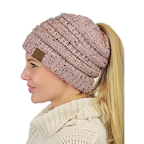 Ehpow Damen Plain Ponytail Messy Bun Gerippte Winter Beanie Hut Cap Hair Hairband (Rosa)