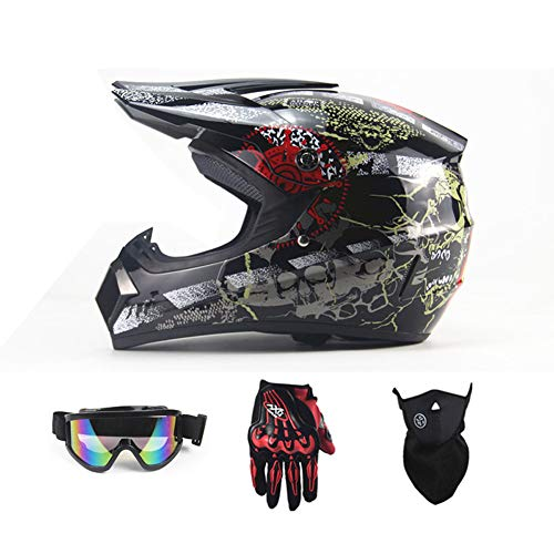 SanQing Motorcycle DH Helmet,Outdoor Youth Kids Dirt Bike Helmets,Full Face Motocross Off-Road Downhill Racing Helmet(Gloves, Goggles, Mask, 4 Piece Set),Darkghost,S