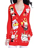 v28 Ugly Christmas Sweater for Women Vintage Funny Merry Knit Cardigan Sweaters (XXX-Large, Happy Cardigan Red2)