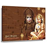 Hanuman Hindu Mythology Poster for Art Pictures for Wall In Living Room Giclee Prints Canvas for Office Painting Decor Bedroom Horizontal Artwork Modern Farmhouse Christmas Decorations Printed Canvas (60x40cm(24x16inch),Framed)