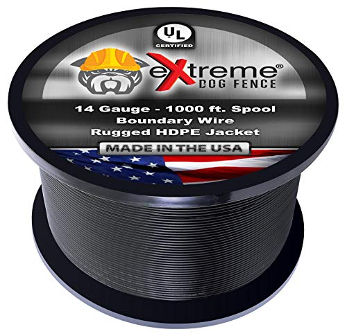 Dog Fence Wire Pure Copper - 1000 Feet of 14 Gauge .044 Professional Grade Electric Dog Fence Boundary Wire - Solid Copper Core Weatherproof Insulation and Compatible with All Underground Dog Fences