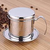 Cafetera percoladora vietnamita de acero inoxidable para cafetera de goteo de café, cafetera de una sola taza, portátil, reutilizable, sin papel, para uso en el hogar, cocina, oficina uso al