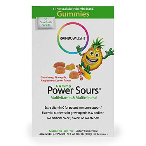 Rainbow Light - Power Sours Multivitamin & Mineral - Gummy Multivitamins with Key Nutrients, High Potency Vitamin C; Supports Nutrition and Immunity in Kids, Delicious Sour Fruit Flavors - 30-Pack Box