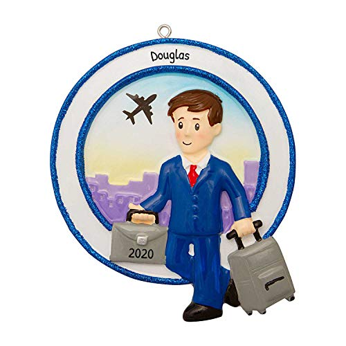 Personalized Occupation Business Travel Male Christmas Tree Ornament 2020 - Leisure Work-Place Suit Flight Airplane World Abroad Captain Job Online Agent Teacher Man Attendant - Free Customization