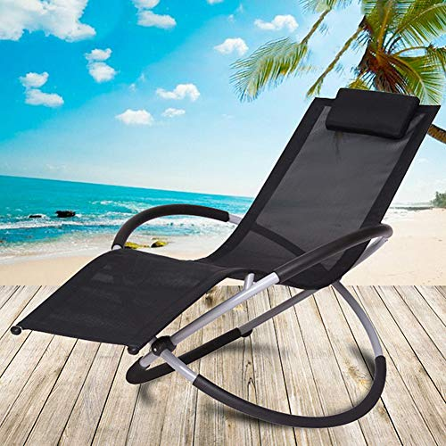 NXW Rocking Lounge Chair with Headrest Pillow,Folding Orbital Zero Gravity Moon Rocker Lounger for Indoor Outdoor 180 Kg Capacity
